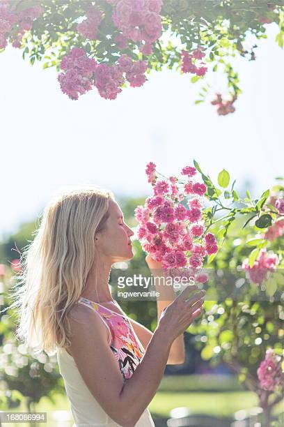 Woman in Rose garden