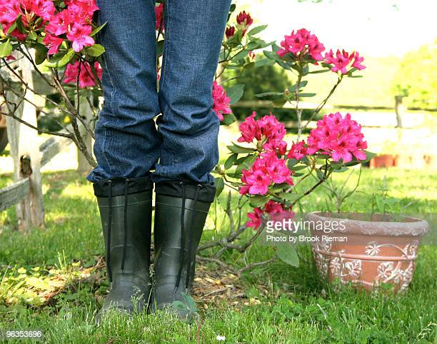 Woman in rubber boots