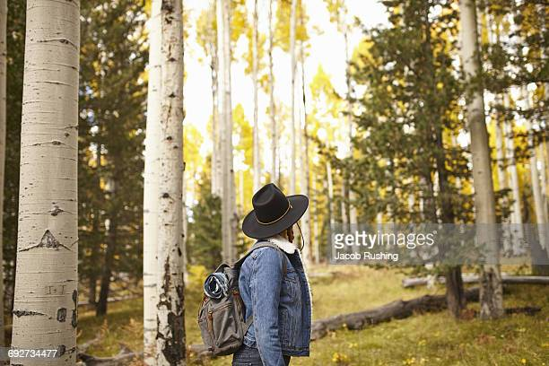 woman in rural setting, looking at view, flagstaff, arizona, usa - flagstaff arizona stock pictures, royalty-free photos & images
