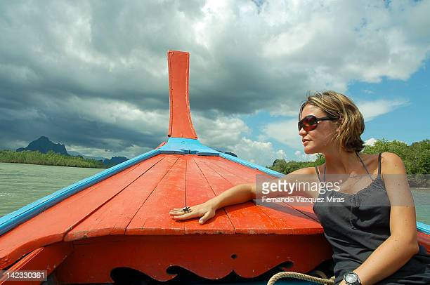 Woman in sailing boat