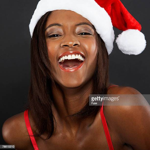 Woman in Santa Claus Hat