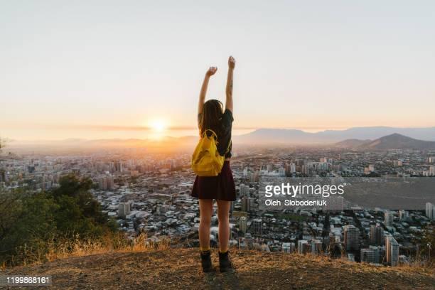 woman in santiago at sunset - santiago chile imagens e fotografias de stock