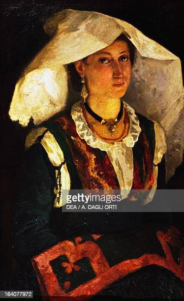 Woman in Sardinian costume ca 1875 by Michele Cammarano oil on canvas Rome Galleria Nazionale D'Arte Moderna