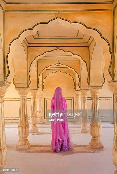 Woman in sari at Amber Fort