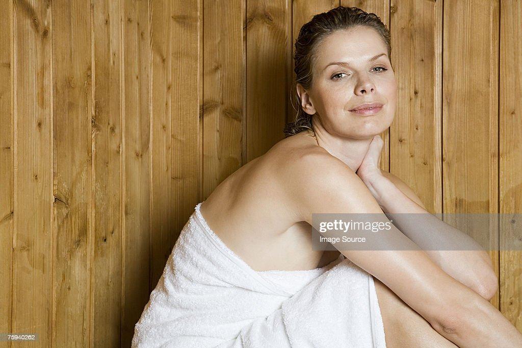 Woman in sauna : Stock Photo
