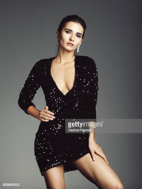 Woman in sequin dress