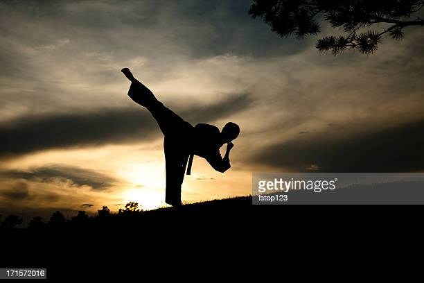 Woman in silhouette practicing martial arts, karate. Sunset. Outdoors. Sky.