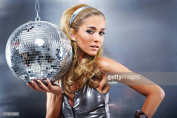 Woman in Silver with Disco Ball