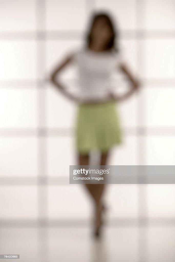 Woman in skirt blurred : Stockfoto