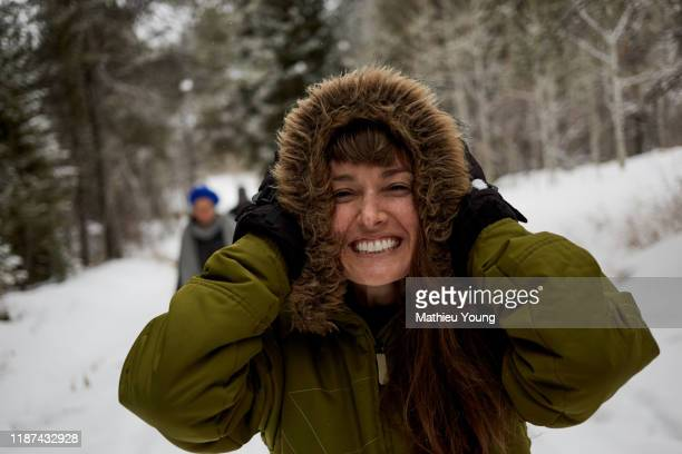 woman in snow - innocence stock pictures, royalty-free photos & images