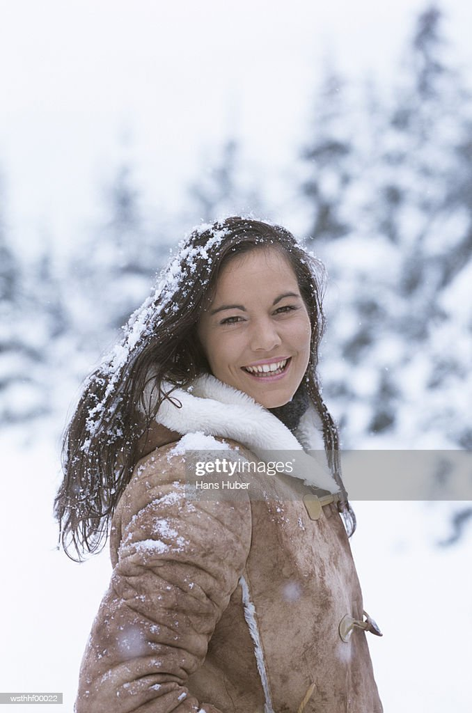 Woman in snow : Foto de stock
