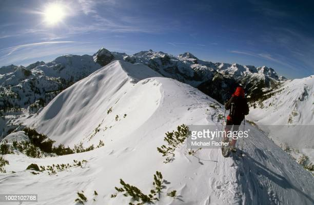 Woman in snowshoes on the summit chine of Mt. Spirzing, 2066m, Suedwiener Hut, Radstaedter Tauern Range, Salzburg, Austria
