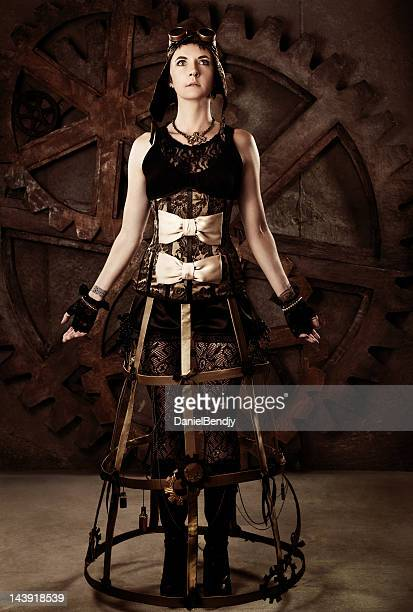 woman in steampunk fashion - steampunk stock photos and pictures