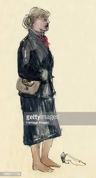 Woman in stockinged feet, 1953. Artist Shirley Markham.