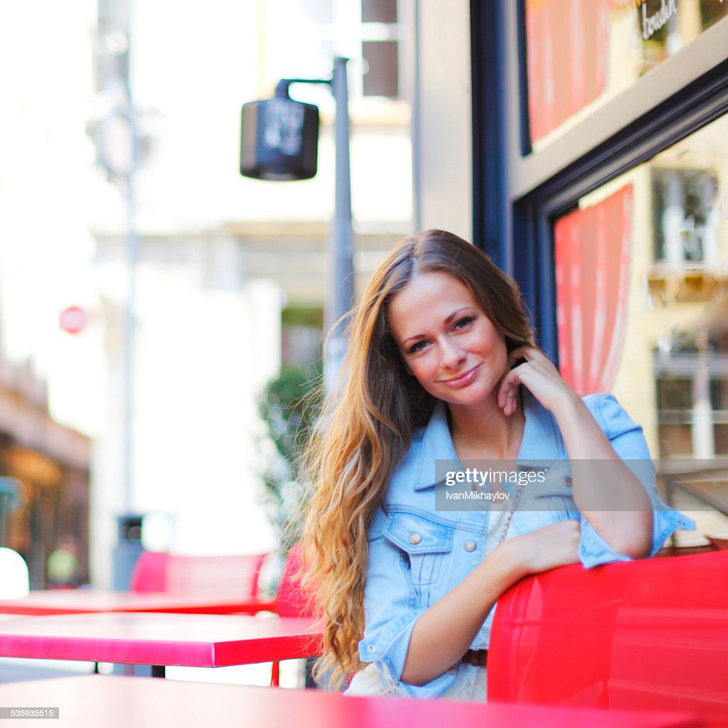 woman in street cafe : Stock Photo