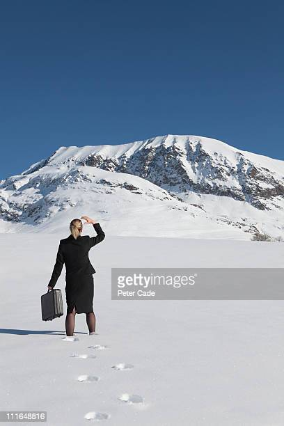 woman in suit stood in snow looking at mountain - peter snow stock pictures, royalty-free photos & images