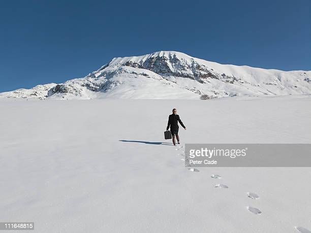 woman in suit walking in snow towards mountain - peter snow stock pictures, royalty-free photos & images