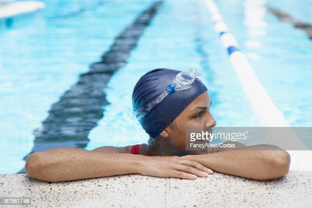 woman in swimming pool - length stock pictures, royalty-free photos & images