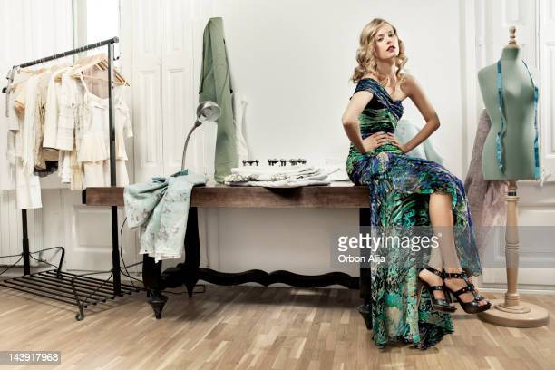 woman in tailor workshop - evening gown stock photos and pictures