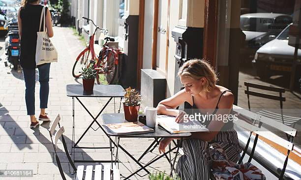 Woman in the Amsterdam cafe