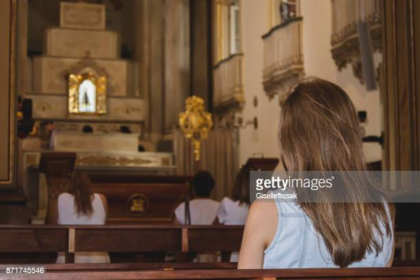 woman in the basilica of our lady of aparecida - place of worship stock pictures, royalty-free photos & images