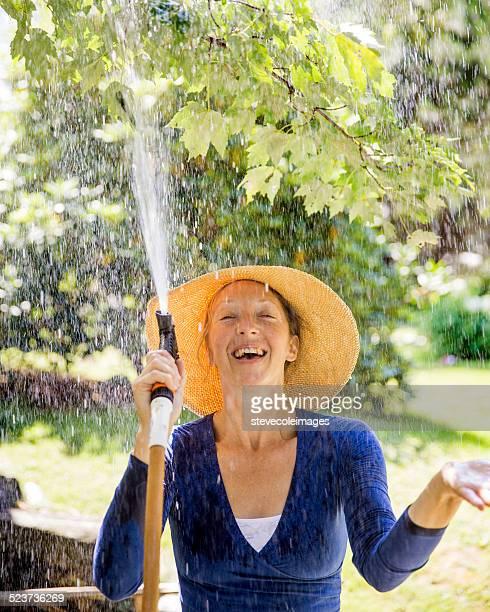 Woman in the Garden having Fun