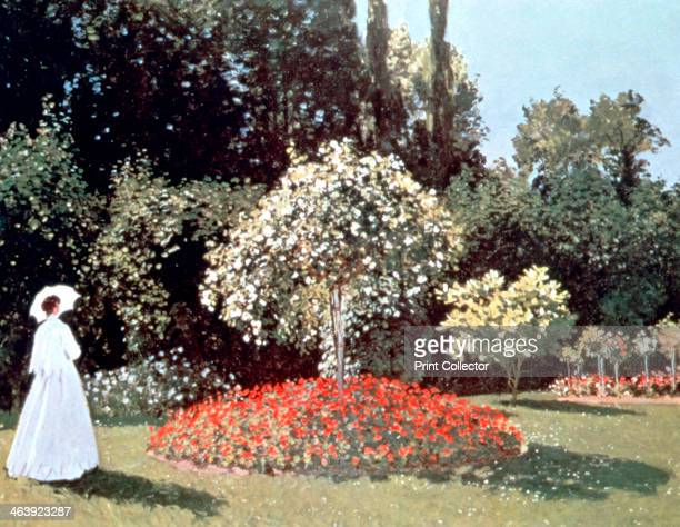 'Woman in the Garden Sainte Adresse' 1867 Dressed in the fashion of the day the figure of a lady stands in Le Coteaux estate at Saint Adresse From...