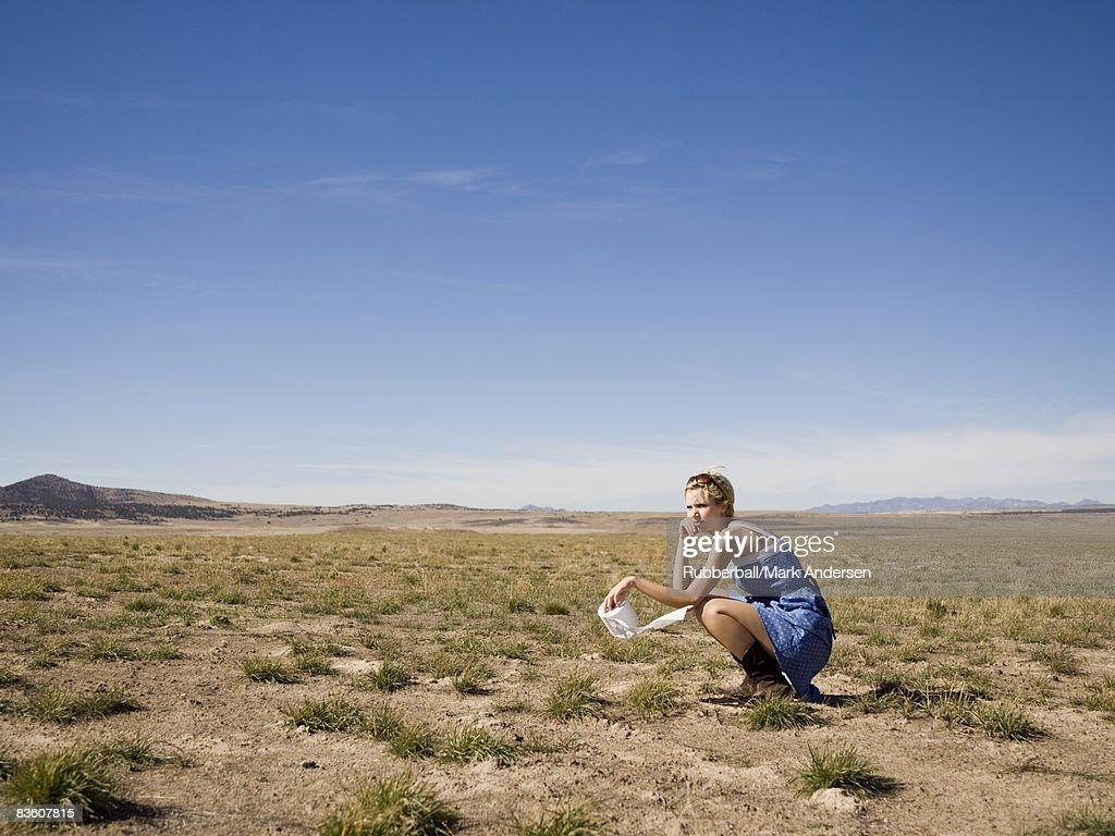 Woman In The Middle Of Nowhere High Res Stock Photo Getty Images