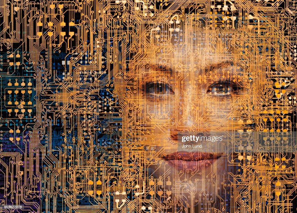 Woman In The Network : Foto de stock