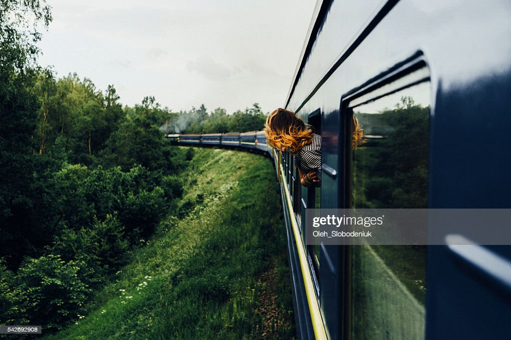 Woman in the  train : Stock Photo