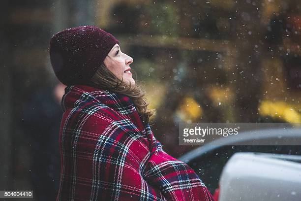 Woman in the winter city