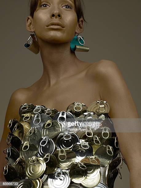 Woman in Tin Can Dress and Earrings