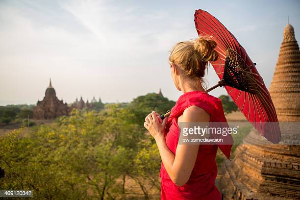 Woman in traditional burmese dress on bagan temples-Myanmar