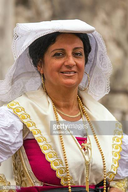 Woman in traditional costume - called 'pacchiana' - during religious festival 'Sagra delle Regne' in Minturno - Italy.