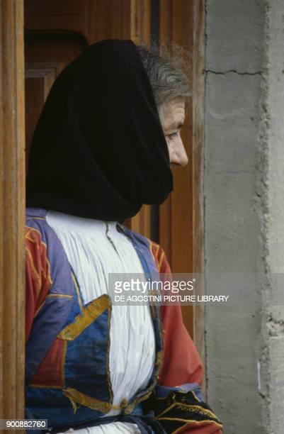 Woman in traditional costume Desulo Mandrolisai Gennargentu Sardinia Italy