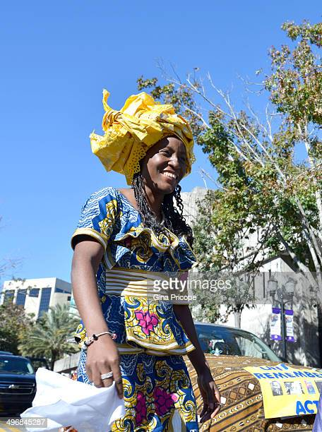 Woman in traditional costume during the parade of Martin Luther King in Orlando, Florida.