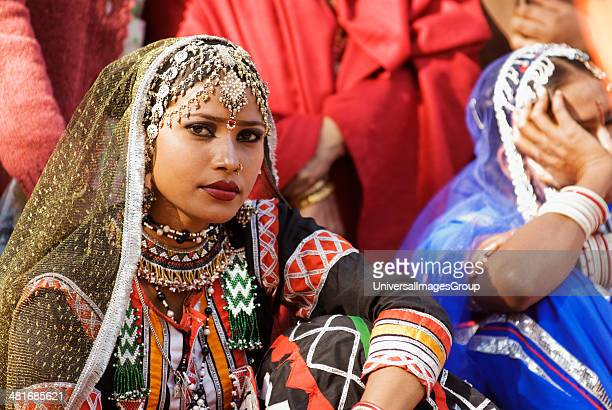 Woman in traditional Rajasthani dress at Surajkund Mela Faridabad Haryana India