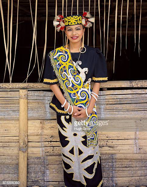 woman in traditional tribal costume - sarawak state stock pictures, royalty-free photos & images