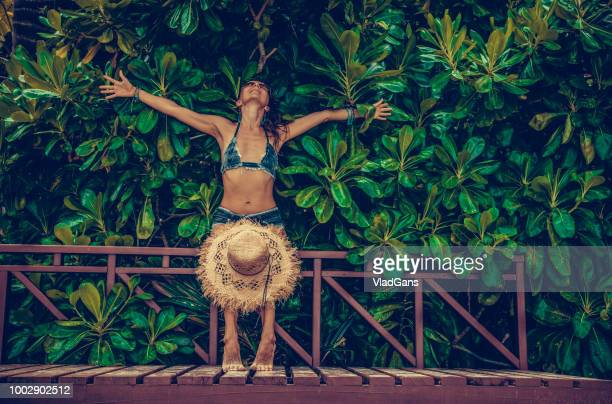 woman in tropical - vlad models stock photos and pictures