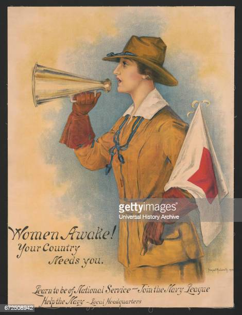 """Woman in Uniform Holding Megaphone and Flag, """"Women Awake! Your Country Needs You, Learn to be of National Service, Join the Navy League"""", World War..."""