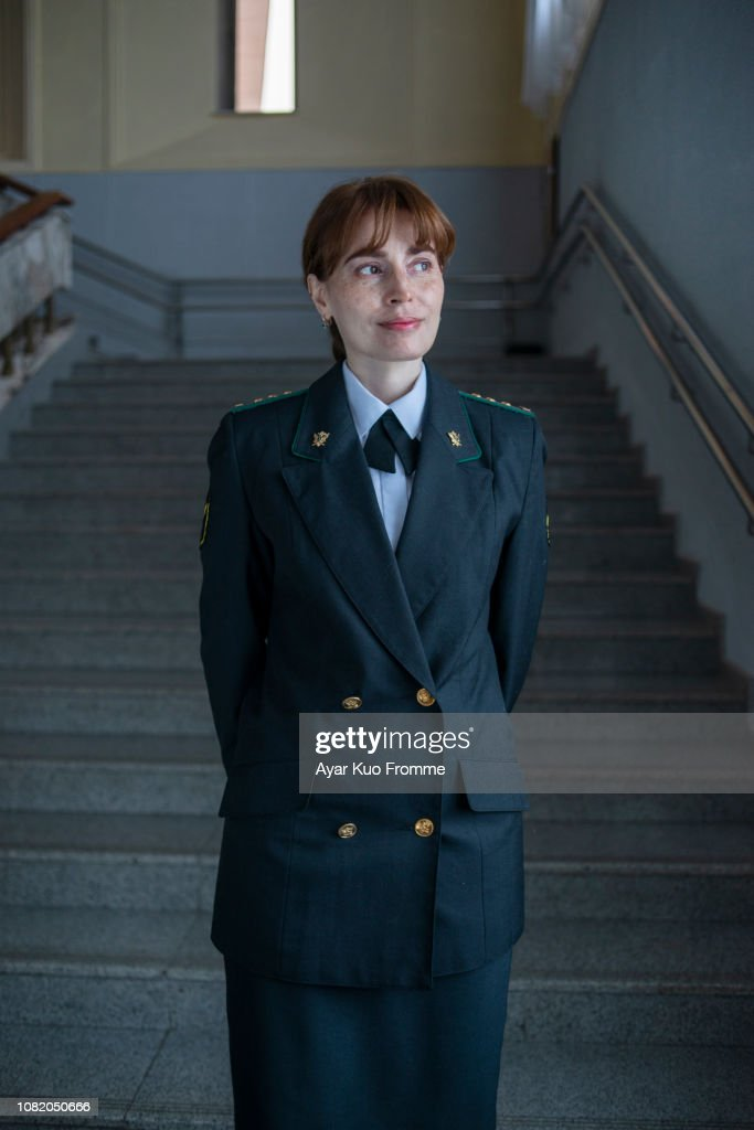 woman in uniform : Stock-Foto