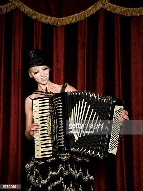 woman in vaudevillian attire