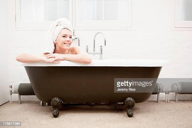 Woman in vintage bath