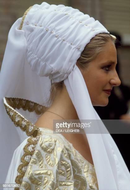 Woman in vintage clothing Palio di Asti Piedmont Italy