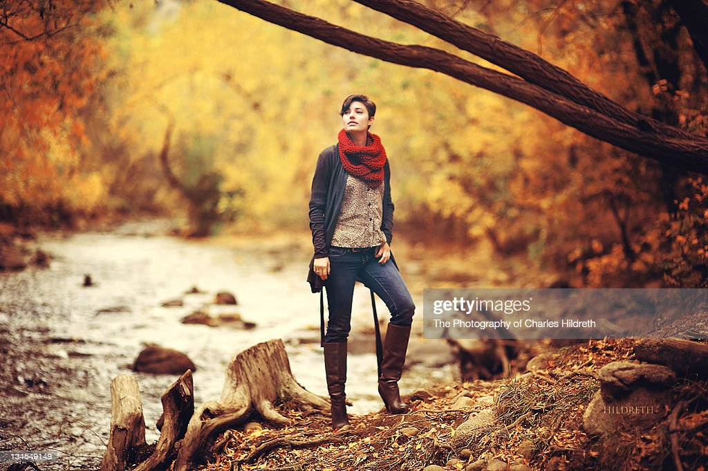 Woman in warm clothes : Stock Photo