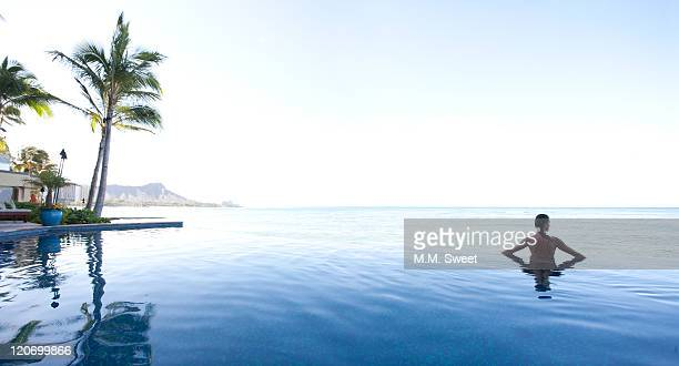 woman in water - waikiki stock pictures, royalty-free photos & images