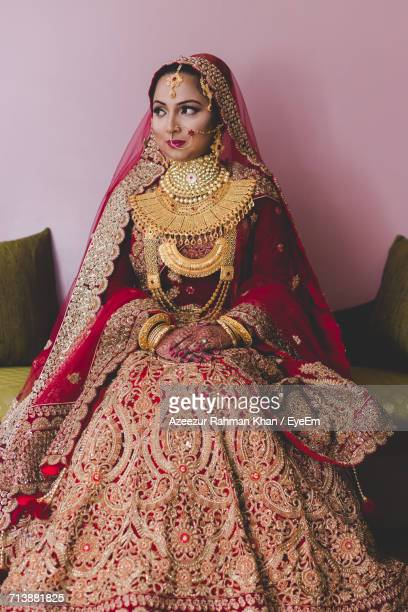 woman in wedding dress - bangladeshi bride stock photos and pictures