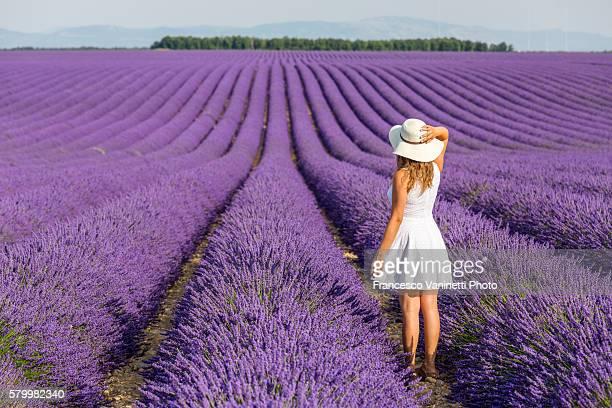 Woman in white in a lavender field