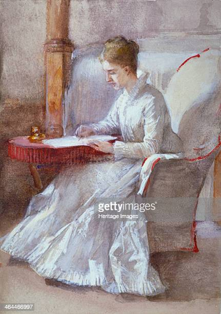 'A Woman in White Writing at a Desk' c18641930