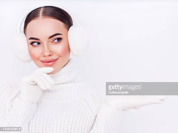 woman in winter clothes - mitten stock pictures, royalty-free photos & images